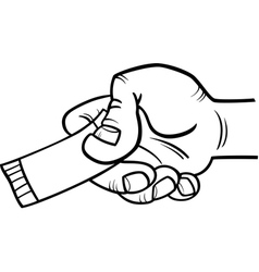 Hand with ticket or coupon coloring page vector