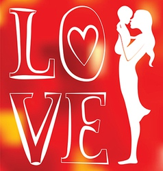 Young mother with baby one color red blurred vector image