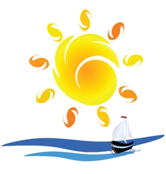 Sun and boat on the sea vector
