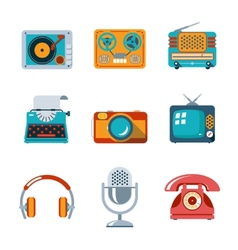Retro media icons in flat style vector