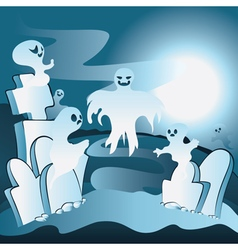 Cartoon cemetery with ghosts2 vector