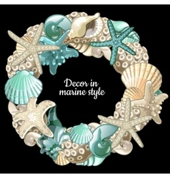 Set of ocean decor wreath on a black background vector
