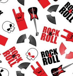 rock music seamless pattern Guitar and skull Wings vector image