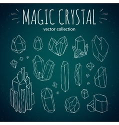Magic crystal hipster style hand drawn set vector