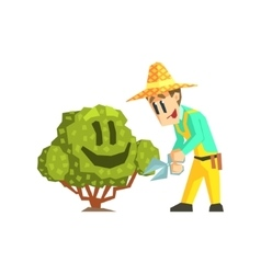 Guy Cutting The Bush vector image