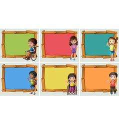 Banner design with many children vector image