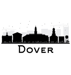 Dover City skyline black and white silhouette vector image