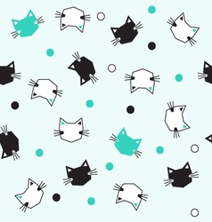 Black white mint cats pattern vector