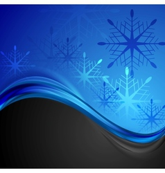 Abstract dark blue wavy Christmas background vector image