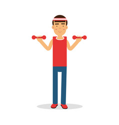 Active young boy exercising with dumbells cartoon vector