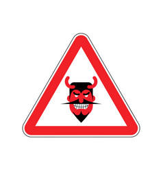 Attention devil dangers of red road sign satan vector