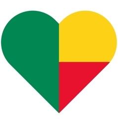 Benin flat heart flag vector