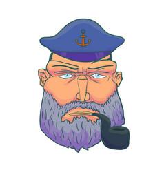 cartoon captain sailor face with beard cap vector image vector image
