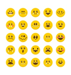 Cartoon faces with emotions emoticon emoji icons vector