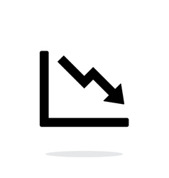 Chart down icon on white background vector image vector image