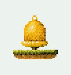 Color pixelated golden bell in meadow vector