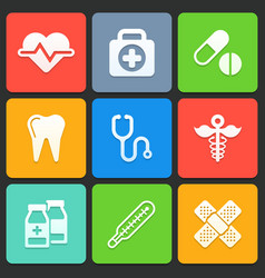 Colorful medical icons for web and mobile vector image vector image