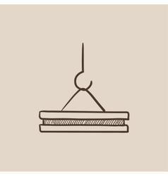 Crane hook sketch icon vector