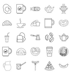 Diet icons set outline style vector