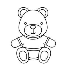 Figure teddy bear with shirt icon vector