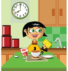 first breakfast vector image vector image
