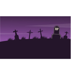 graveyard landscape on halloween collection vector image