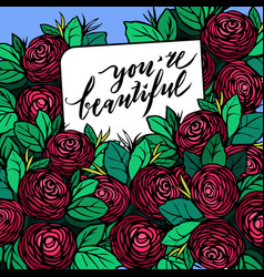 Hand drawn postcard with red roses vector