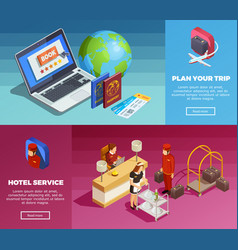 Hotel service 2 isometric webpage banners vector