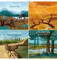 Landscapes travel 4 flat icons square vector image vector image