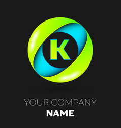 letter k logo symbol in the colorful circle vector image vector image