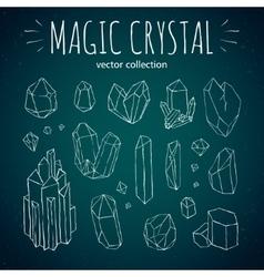 Magic crystal hipster style hand drawn set vector image