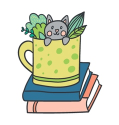 Postcard with adorable kitten books and plants vector