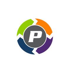 Process planner center letter p vector