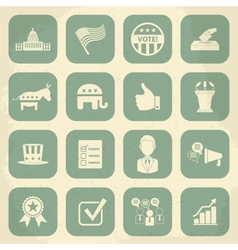 Retro political election campaign icons set vector image