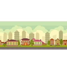 Seamless city landscape in flat style vector image