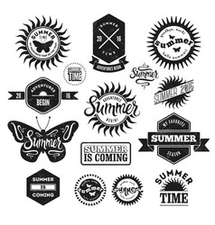 set of summer typographic retro labels and badges vector image