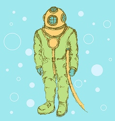 Sketch cute vintage diving suit vector image
