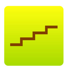 Stair up sign brown icon at green-yellow vector