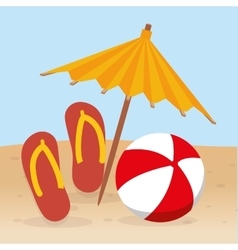 summer beach flip flop ball and umbrella vector image vector image