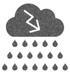 Thunderstorm rain cloud grainy texture icon vector