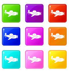 toy plane icons 9 set vector image