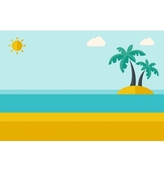 Tropical sea island with palm trees vector image