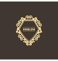 Vintage gold emblem with decorative elements vector image vector image
