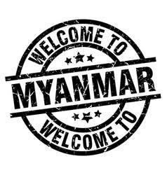 Welcome to myanmar black stamp vector