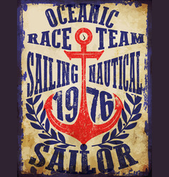 yachting club grunge artwork for sportswear in vector image