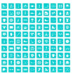 100 sport team icons set grunge blue vector