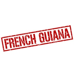 French guiana red square stamp vector