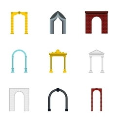 Archway icons set flat style vector