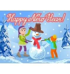 Children make a snowman greeting vector image