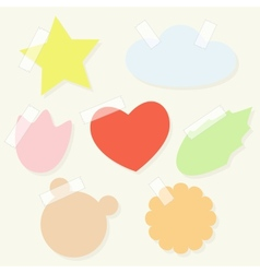 Set of paper stickers with tape for scrapbooking vector